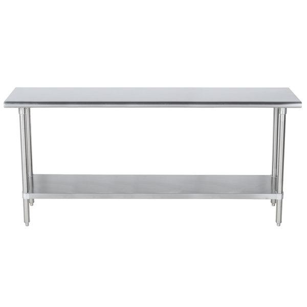 "Advance Tabco SLAG-305-X 30"" x 60"" 16 Gauge Stainless Steel Work Table with Stainless Steel Undershelf"