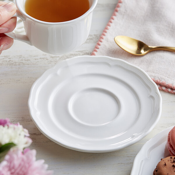 """Acopa Condesa 6"""" Pearl White Scalloped Porcelain Saucer - 36/Case Main Image 3"""