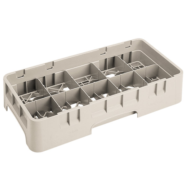 """Cambro 10HS434184 Beige Camrack 10 Compartment 5 1/4"""" Half Size Glass Rack Main Image 1"""