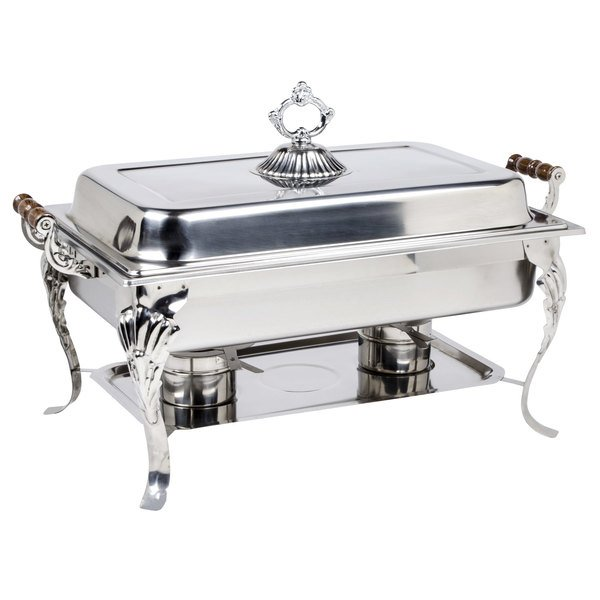 complete with a water pan food pan cover and fuel holders this chafer distributes heat evenly to keep your hot food items warm throughout the entire