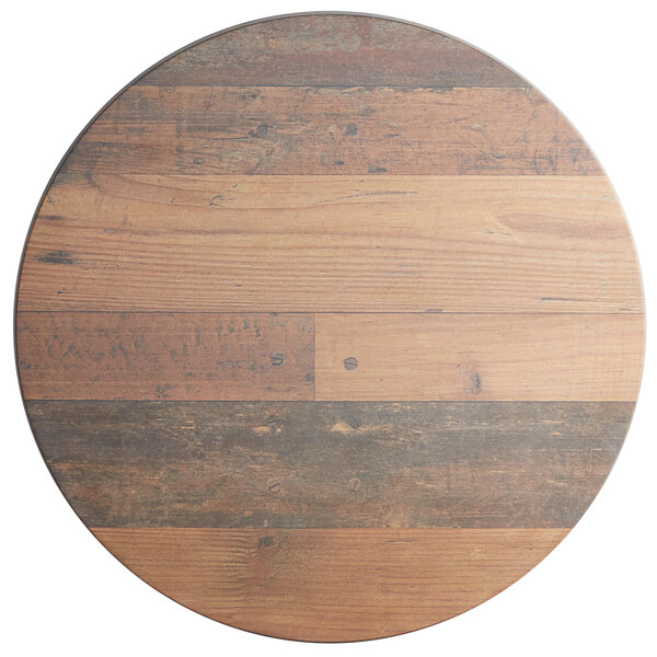 """Lancaster Table & Seating Excalibur 24"""" Round Table Top with Textured Farmhouse Finish Main Image 1"""