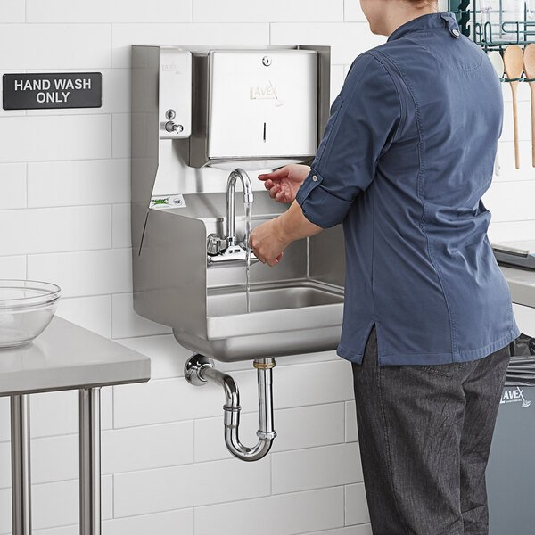 Regency 17 X 15 Wall Mounted Hand Sink With Gooseneck Faucet Side Splashes And Top Mounted Paper Towel And Soap Dispenser