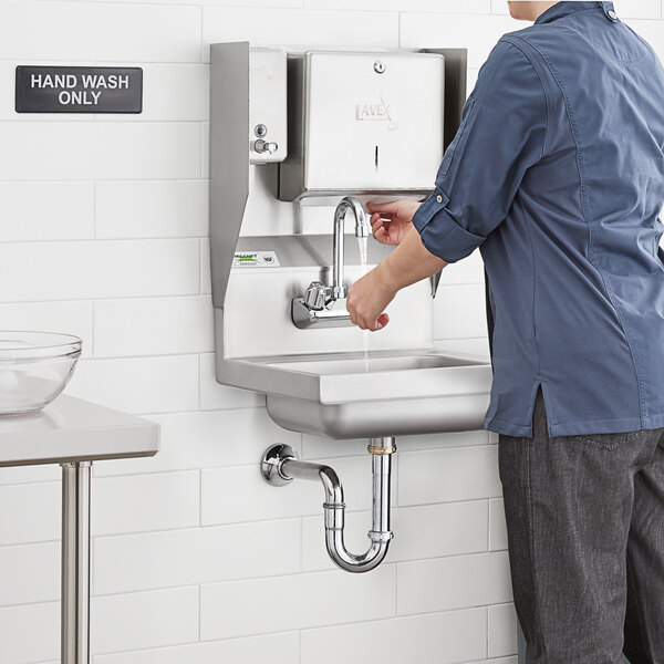 """Regency 17"""" x 15"""" Wall Mounted Hand Sink with Gooseneck Faucet and Top Mounted Paper Towel and Soap Dispenser Main Image 4"""