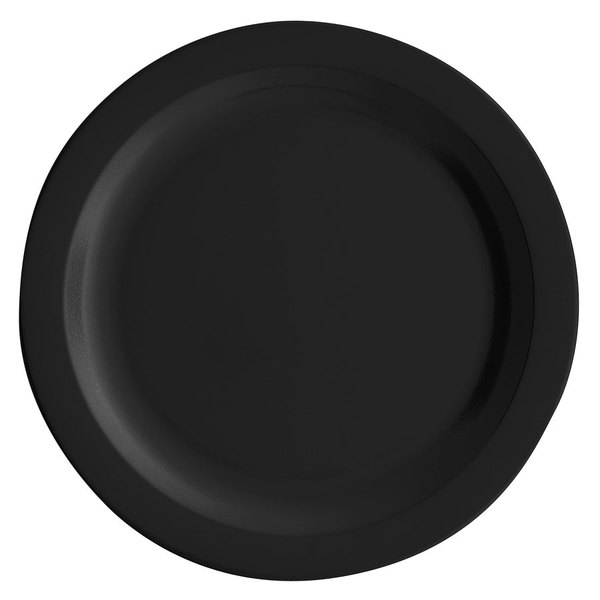 "Cambro 10CWNR110 Camwear 10"" Black Narrow Rim Polycarbonate Plate - 48/Case"