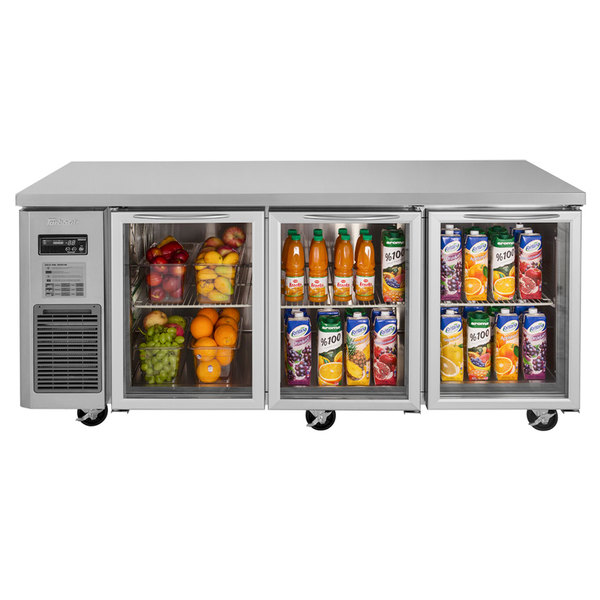 "Turbo Air JUR-72-G J Series 72"" Glass Door Undercounter Refrigerator with Side Mounted Compressor"