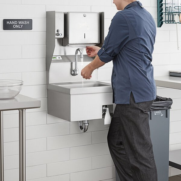 "Regency 17"" x 15"" Hands Free Hand Sink with Knee Operated Valve and Top Mounted Paper Towel and Soap Dispenser Main Image 5"
