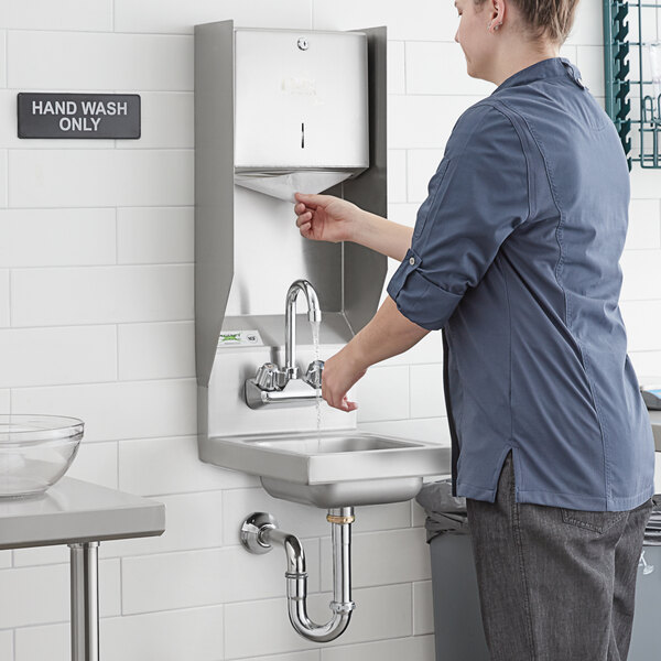 """Regency 12"""" x 16"""" Wall Mounted Hand Sink with Gooseneck Faucet and Top Mounted Paper Towel Dispenser Main Image 4"""
