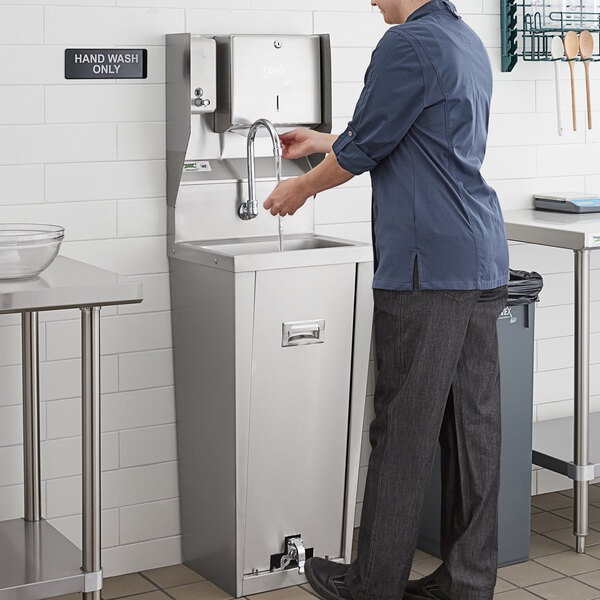 """Regency 17"""" x 15"""" Hands Free Hand Sink with Pedestal Base and Top Mounted Paper Towel and Soap Dispenser Main Image 4"""