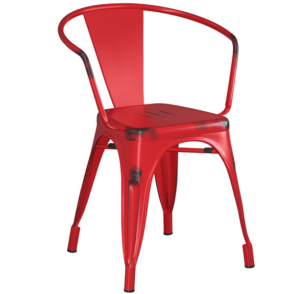 Lancaster Table & Seating Alloy Series Distressed Red Metal Indoor / Outdoor Industrial Cafe Arm Chair Main Image 1