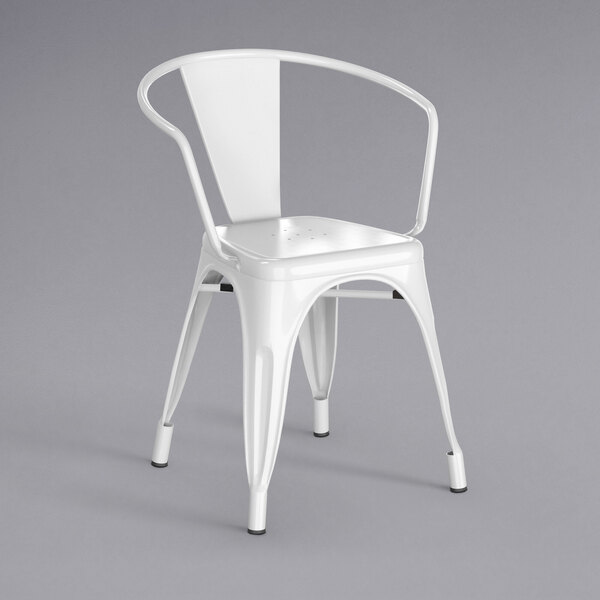 Lancaster Table & Seating Alloy Series White Metal Indoor / Outdoor Industrial Cafe Arm Chair Main Image 1