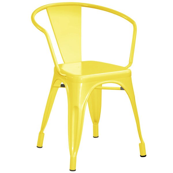 Lancaster Table & Seating Alloy Series Yellow Metal Indoor / Outdoor Industrial Cafe Arm Chair Main Image 1