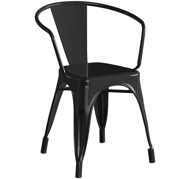 Lancaster Table & Seating Alloy Series Black Metal Indoor / Outdoor Industrial Cafe Arm Chair Main Image 1