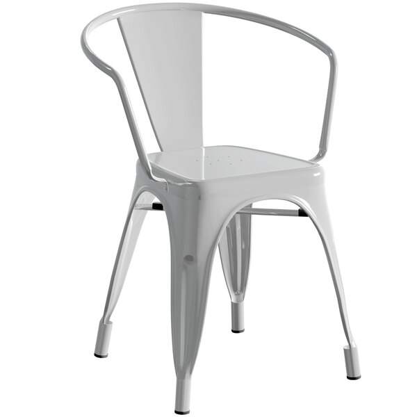 Lancaster Table & Seating Alloy Series Silver Metal Indoor / Outdoor Industrial Cafe Arm Chair Main Image 1