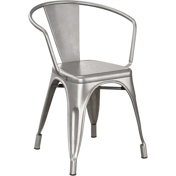 Lancaster Table & Seating Alloy Series Clear Coated Metal Indoor Industrial Cafe Arm Chair Main Image 1