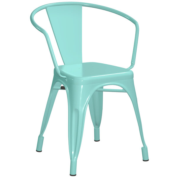 Lancaster Table & Seating Alloy Series Seafoam Metal Indoor / Outdoor Industrial Cafe Arm Chair Main Image 1