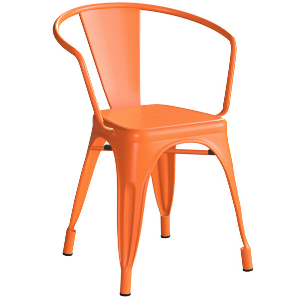 Lancaster Table & Seating Alloy Series Orange Metal Indoor / Outdoor Industrial Cafe Arm Chair Main Image 1