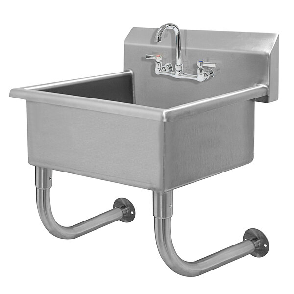 "Advance Tabco FC-WM-2219-F 16-Gauge Multi-Station Wall Mounted Hand Sink with 10"" Deep Sink Bowl with 1 Faucet - 23"" x 23"" Main Image 1"