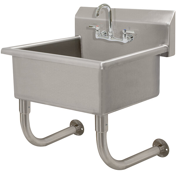 """Advance Tabco FS-WM-2219-F 14-Gauge Multi-Station Wall Mounted Hand Sink with 10"""" Deep Sink Bowl with 1 Faucet - 23"""" x 23"""" Main Image 1"""