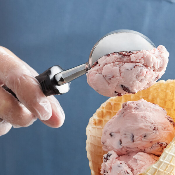 """Tablecraft E5619 FirmGrip 8"""" Ice Cream Scoop / Dipper with Black Non-Slip Handle - 0.5 oz. Main Image 2"""