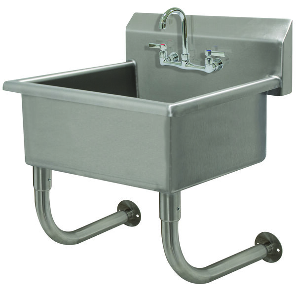 """Advance Tabco FC-WM-2721-F 16-Gauge Multi-Station Wall Mounted Hand Sink with 12"""" Deep Sink Bowl with 1 Faucet - 27"""" x 21 1/2"""" Main Image 1"""