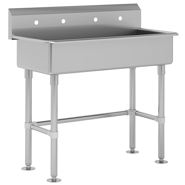 """Advance Tabco FC-FM-40 16-Gauge Multi-Station Hand Sink with 8"""" Deep Bowl for 2 Faucets - 40"""" x 19 1/2"""" Main Image 1"""
