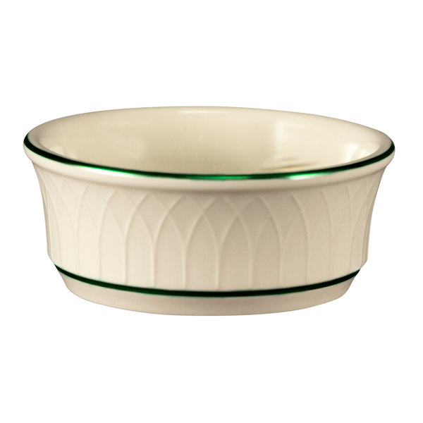 Homer Laughlin 1430-0329 Green Jade Gothic Off White 12.5 oz. Nappie - 24/Case Main Image 1
