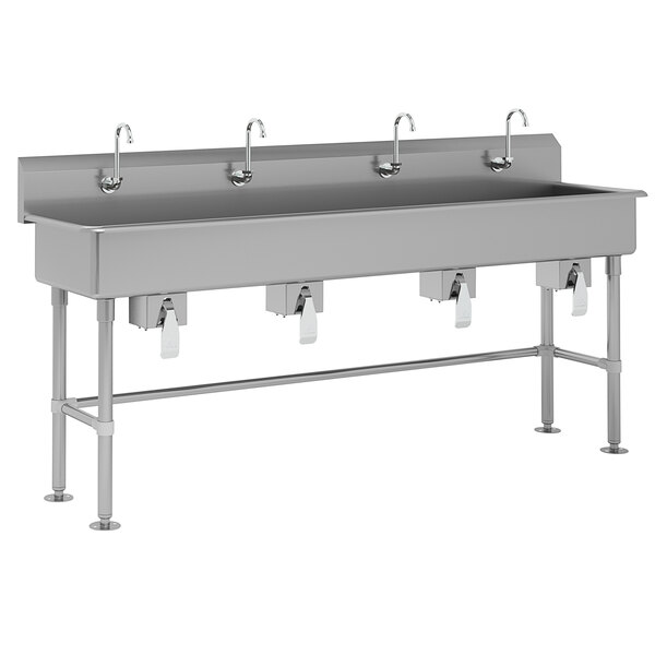 "Advance Tabco FC-FM-80KV 16-Gauge Multi-Station Hand Sink with 8"" Deep Bowl and 4 Knee Valve Faucets - 80"" x 19 1/2"" Main Image 1"
