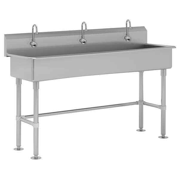 """Advance Tabco FC-FM-60EF 16-Gauge Multi-Station Hand Sink with 8"""" Deep Bowl and 3 Electronic Faucets - 60"""" x 19 1/2"""" Main Image 1"""