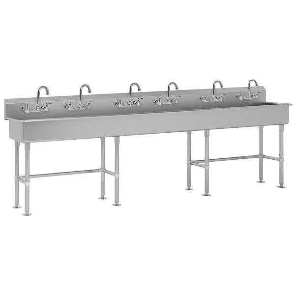 """Advance Tabco FC-FM-120-F 16-Gauge Multi-Station Hand Sink with 8"""" Deep Bowl and 6 Faucets - 120"""" x 19 1/2"""" Main Image 1"""