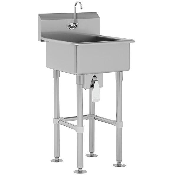 "Advance Tabco FC-FM-2721KV 16-Gauge Service Sink with 8"" Deep Bowl and 1 Knee Valve Faucet - 27"" x 21 1/2"" Main Image 1"