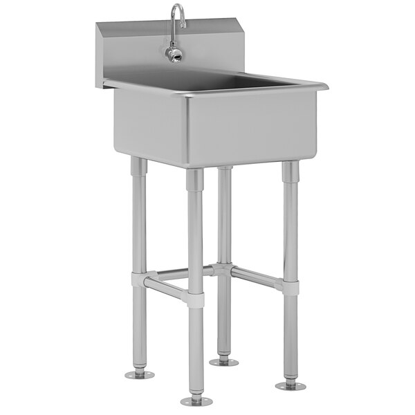 """Advance Tabco FC-FM-2721EF 16-Gauge Service Sink with 12"""" Deep Bowl and 1 Electronic Faucet - 27"""" x 21 1/2"""" Main Image 1"""