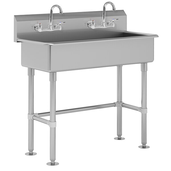 """Advance Tabco FC-FM-40-F 16-Gauge Multi-Station Hand Sink with 8"""" Deep Bowl and 2 Faucets - 40"""" x 19 1/2"""" Main Image 1"""