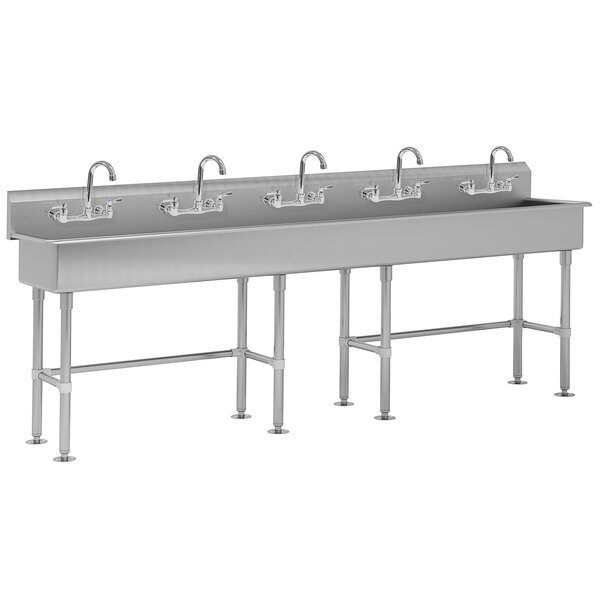"Advance Tabco FC-FM-100-F 16-Gauge Multi-Station Hand Sink with 8"" Deep Bowl and 5 Faucets - 100"" x 19 1/2"" Main Image 1"