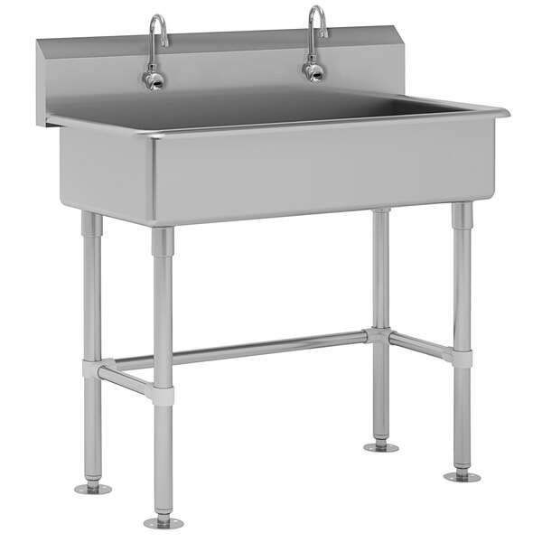 """Advance Tabco FC-FM-40EF 16-Gauge Multi-Station Hand Sink with 8"""" Deep Bowl and 2 Electronic Faucets - 40"""" x 19 1/2"""" Main Image 1"""