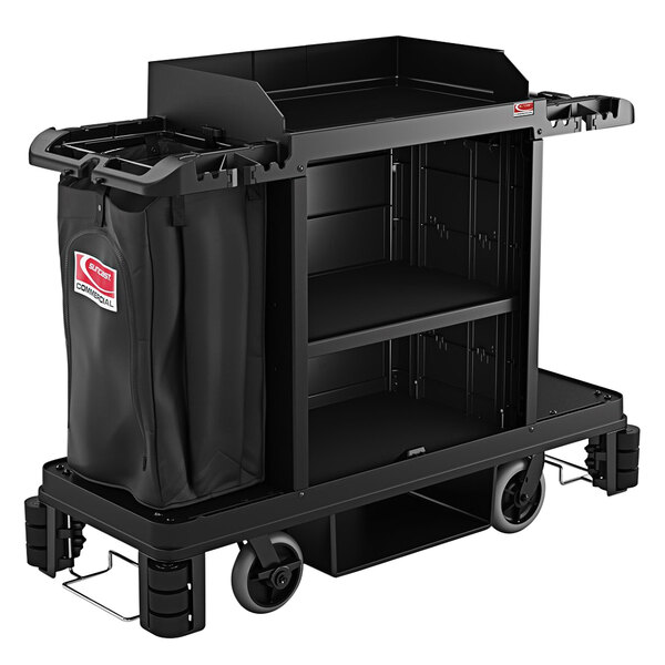 Suncast HKC2000 Black Premium Janitor / Housekeeping Cart with Adjustable Caster System, Bag, and Non-Marring Wall Bumpers Main Image 1