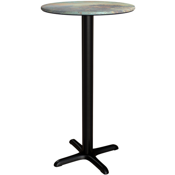 """Lancaster Table & Seating Excalibur 24"""" Round Bar Height Table with Textured Canyon Painted Metal Finish and Cross Base Plate Main Image 1"""