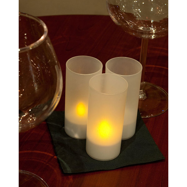 12-Piece Set Flameless Rechargeable Tea Light Candles with Frosted Plastic Cup Main Image 12