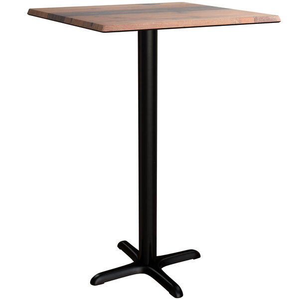 """Lancaster Table & Seating Excalibur 28"""" x 28"""" Square Bar Height Table with Textured Farmhouse Finish and Cross Base Plate Main Image 1"""
