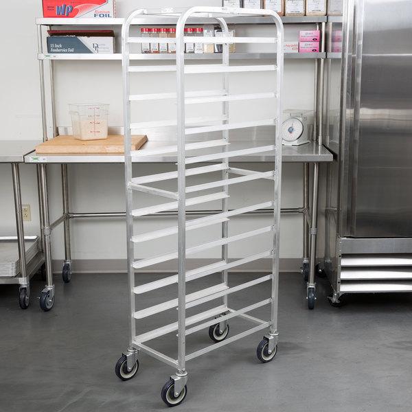 "Winholt AL-1212 End Load Aluminum Platter Cart - Twelve 12"" Trays Main Image 6"