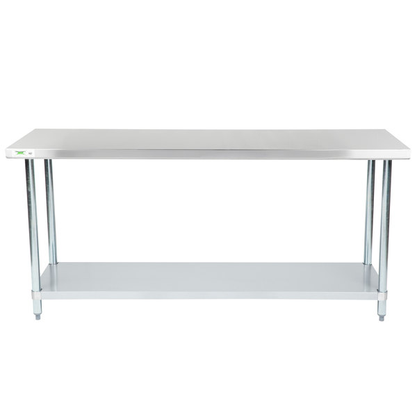 "Regency 24"" x 72"" 18-Gauge 304 Stainless Steel Commercial Work Table with Galvanized Legs and Undershelf"