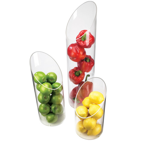 """Cal-Mil 1324-24 6"""" x 24"""" Sloped Clear Plastic Accent Display Vase Main Image 1"""