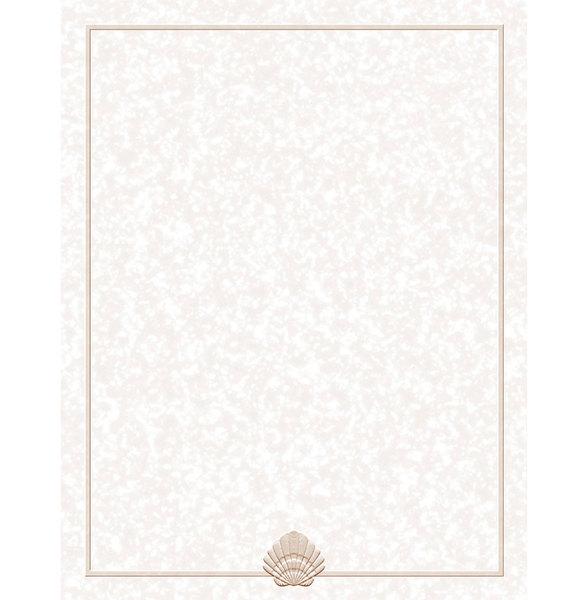 "8 1/2"" x 14"" Menu Paper - Tan Shell Border - 100/Pack"