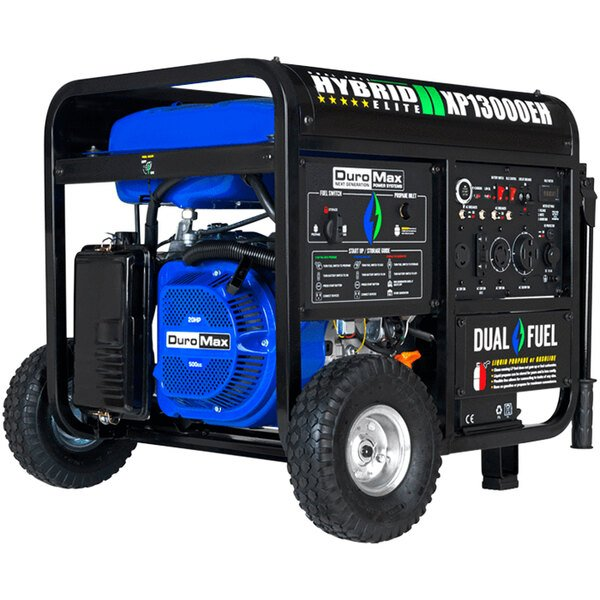 DuroMax XP13000EH Portable 20 HP Dual Fuel Powered Gasoline / Propane Generator with Electric / Recoil Start and Wheel Kit - 13,000W, 120/240V Main Image 1