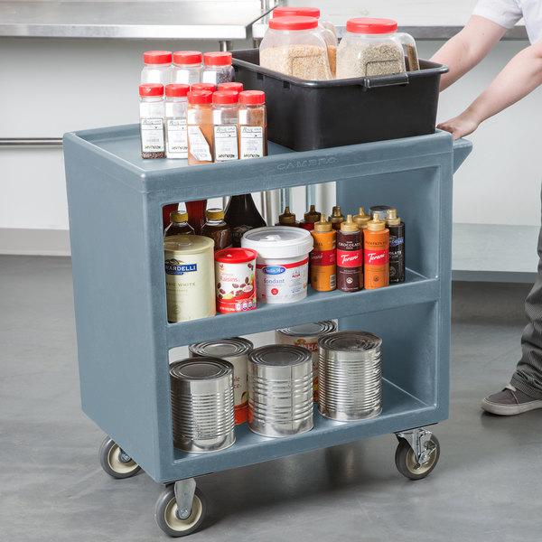 "Cambro BC230401 Slate Blue Three Shelf Service Cart - 33 1/4"" x 20"" x 34 5/8"""