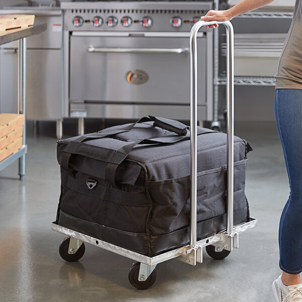 """Vesture Industrial Aluminum Folding Cart for Delivery and Catering Bags - 22"""" x 22"""" x 34"""" Main Image 6"""