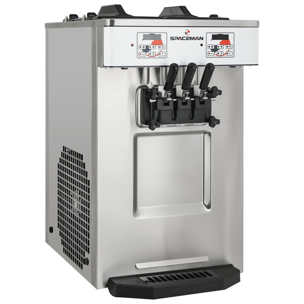 Spaceman 6235-C Soft Serve Countertop Ice Cream Machine with 2 Hoppers and 3 Dispensers - 208-230V Main Image 1