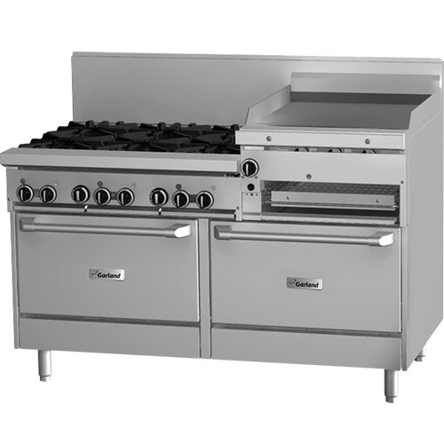 "Garland GFE60-6R24RR Liquid Propane 6 Burner 60"" Range with Flame Failure Protection and Electric Spark Ignition, 24"" Raised Griddle / Broiler, and 2 Standard Ovens - 120V, 265,000 BTU"