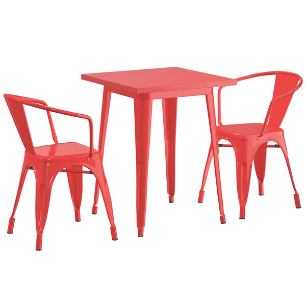 "Lancaster Table & Seating Alloy Series 24"" x 24"" Red Dining Height Outdoor Table with 2 Arm Chairs Main Image 1"