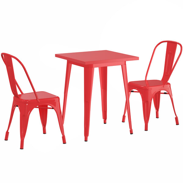 """Lancaster Table & Seating Alloy Series 24"""" x 24"""" Red Dining Height Outdoor Table with 2 Industrial Cafe Chairs Main Image 1"""