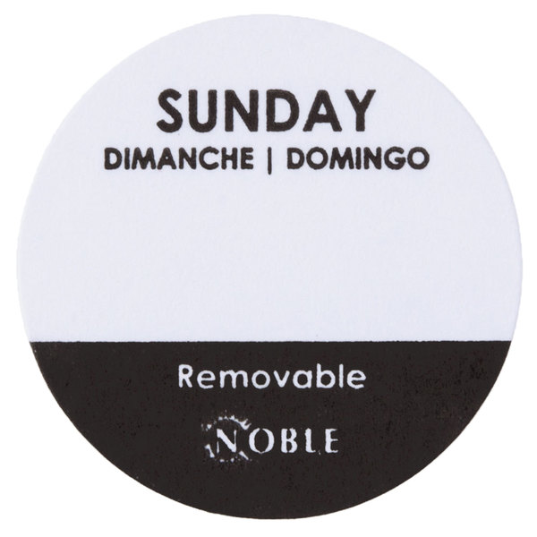 Noble Products Sunday 1 inch Removable Day of the Week Label - 1000/Roll